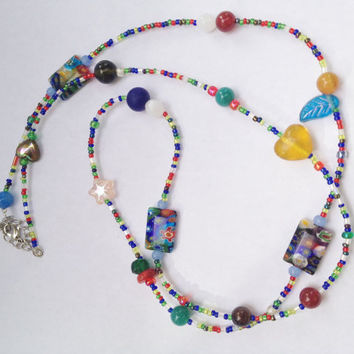 Hippie Love Beads - Small Colorful Beads, ROCKwear, Janis Joplin Inspired, Bohemian Jewelry