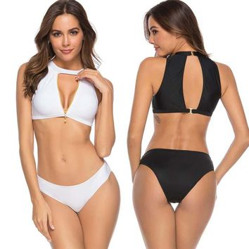 2019 Hollowed Top Sexy Solid Swimwear Padded Bikini High Neck Sport Suit High Cut Bathing Suit Zipper Swimsuit Women Bikini Set