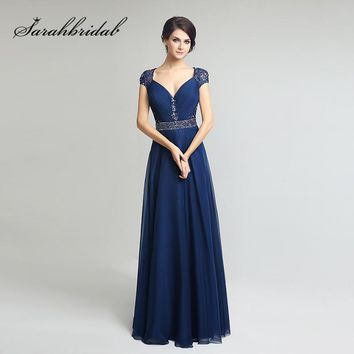 Navy Blue Mother of the Bride Dresses Cap Short Sleeves Lace Beaded Sequins Evening Formal Gowns Floor Length Chiffon LX261