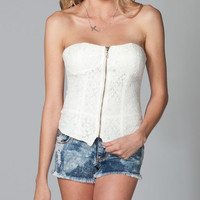 Full Tilt Lace Zip Womens Corset Cream  In Sizes