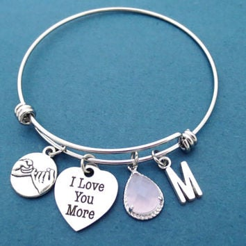 I Love You More, Personalized, Glass, Color, Personalized, Letter, Initial, Pinky, Promise, Bangle, Bracelet, Friendship, Birthday, Gift