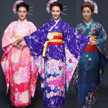 Japanese Traditional Women Floral Furisode Long Kimono Cosplay Costume