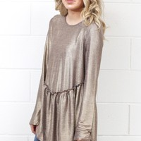 Metallic Babe Smocked Babydoll Blouse {Rose Gold}