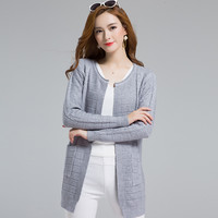 Casual Loose Medium Long Hooded Women Sweater Cardigan Grey Khaki Sweater For Female candy color Outwear Coats with Pockets st03