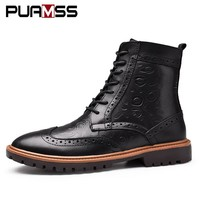 2017 Winter Men Boots Brand Winter Motorcycle Boots Westem Brogue Carved Boots High-Cut Lace-up Fur Warm Men Casual Shoes Winter