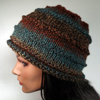 Hand Knit Beanie- Teal Peacock Chocolate Brown Fade Beanie Hat