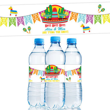 Fiesta Water Bottle Labels - Fiesta Bridal Shower - Fiesta Wedding Party Favors - Fiesta Baby Shower - Fiesta Birthday Party Adult Labels