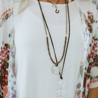 Vintage Coin Beaded Necklace - Bronze