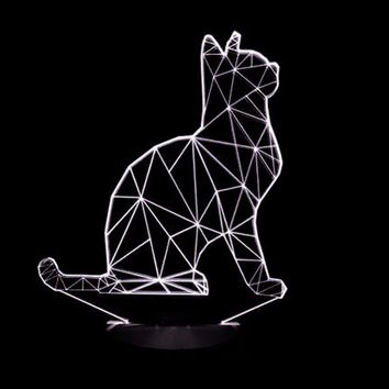 Cat Spiralism 3D LED Night Light Lamp