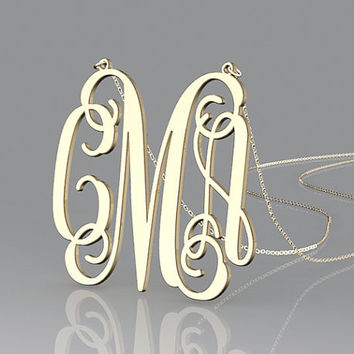 Personalized monogram 1.5 inch necklace plated gold,custom gift nameplated necklace for lovers