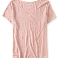 Oversized Slub-Knit V-Neck Tee