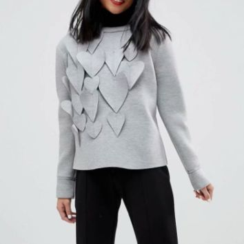 Winter peach heart applique pullover women's sweater top