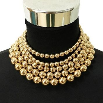 "14"" gold faux pearl shiny beads multi strand layered choker necklace 2"" wide"