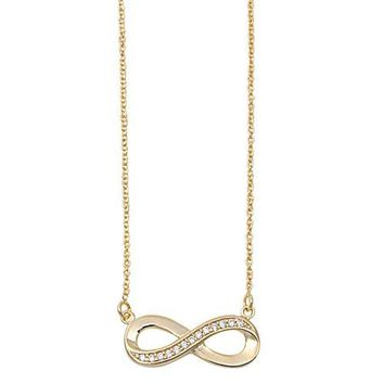 Gold Plated Sideway Infinity Pendant with Cz .925 Necklace