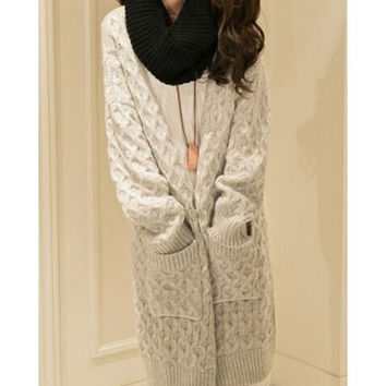 Shop Cream Cable Knit Sweater on Wanelo