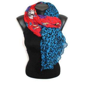 Silhouette Scarf - Red & Blue Shawl - Leopard Scarf - A girl on a Scarf - Hearts Scarf - Women Scarf - Spring Scarf - Pareo - Gift Idea