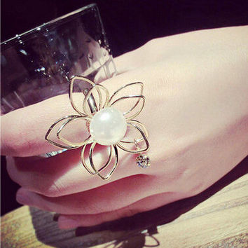 Shiny New Arrival Jewelry Gift Stylish Strong Character Hollow Out Floral Accessory Ring [6573115783]