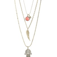 Triple Strand Hamsa Long-Strand Necklace