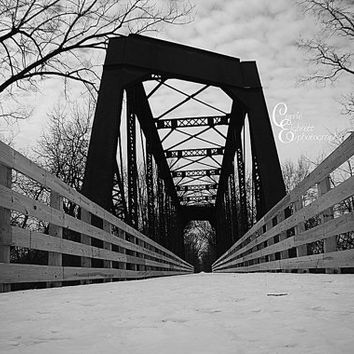 Black and White Bridge on a Winter day Photograph- DIGITAL DOWNLOAD