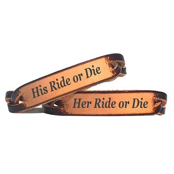 His & Her Ride or Die Braided Leather  Couples Bracelet Set