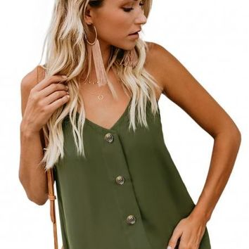 Fashion Green Spaghetti Strap Buttoned Tank Top