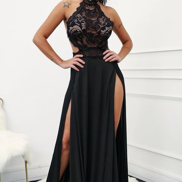 Seduction Lace High Split Maxi Dress