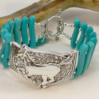 Turquoise Cowgirl Jewelry, Women's Western Jewelry, Silver and Turquoise Double Strand Bracelet, Rodeo Bracelet, Two Strand Bracelet,