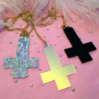Silver Confetti Acrylic Inverted Cross Necklace by imyourpresent