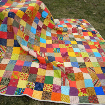 Patchwork Quilt--Queen Size--93X93--Warm Earthtone colors--cotton blanket