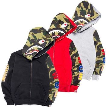 ca kuyou BAPE A Bathing Ape Men's Jacket Shark Head Full Zip Hoodie
