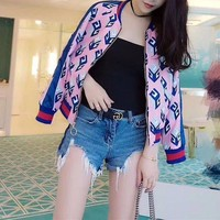 DCCKH3L Gucci' Women Fashion Multicolor Stripe Geometric Print Long Sleeve Zip Cardigan Baseball Clothes Jacket Coat
