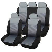 Adeco 9-Piece Car Vehicle Protective Seat Covers, Universal Fit, Black/Gray Mesh
