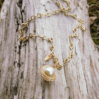 Gold Wrapped White Glass Pearl Necklace / Gold Plated Necklace with Leaf