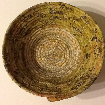 Neutral Batik Coiled Rope Bowl,  Fabric Bowl,  Catchall Basket