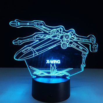 Star Wars Force Episode 1 2 3 4 5 !  3D X-Wing Fighter Desk Lamp Laser Engraved Color Changing Night Light Bedside for Child ping AT_72_6
