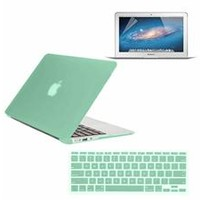 "3 in 1 Rubberized Protective Hard Case Cover for MacBook Air® 11""A1370 / A1465 + Silicone keyboard Skin w/ Screen Protector (Ocean Green)"