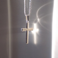 Boyfriend gift Cross Necklace Men Cross Silver Cross Necklace For Men Man Cross Necklace Gift sterling silver man cross necklace Chain
