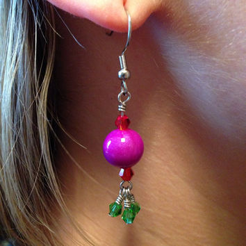 Sparkling Purple Polymer Clay Bead With Green And Red Swarovski Crystals Dangle Earrings