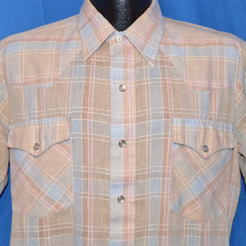 80s Dee Cee Rangers Brown Blue Plaid Pearl Snap Shirt Medium