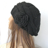 Hand Knit Hat- Slouchy Hat  Beret  in  Black  with black   flower -   womens hat  Slouchy  Winter Accessories Christmas   fall autumn