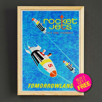 Tomorrowland Rocket Jets Art Print Vintage Disney Poster House Wear Wall Decor Gift Linen Print - Buy 2 Get 1 FREE - 340s2g