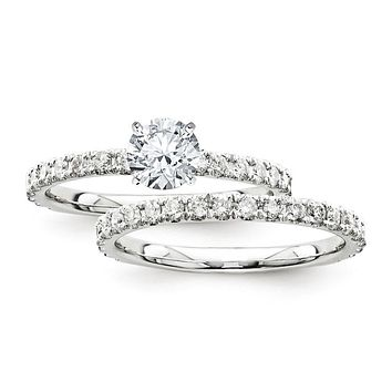 Certified 1.70 Ct. Round Diamond Bridal Engagement Ring Set with Side Stones in 14K White Gold