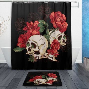 Day of the Dead Flower Sugar Skull Waterproof Polyester Fabric Shower Curtain