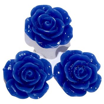 Royal blue flower resin cabochon 15mm / 1-5 pieces
