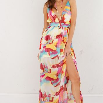 Printed Maxi Dress in Mixed Burgundy