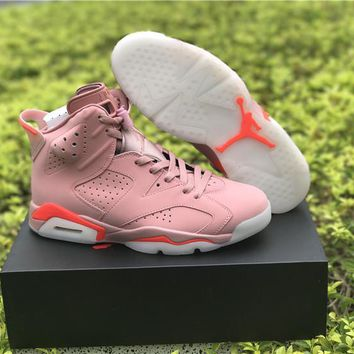 Top Quality Air Jordan Retro 6 Millennial Pink Men Basketball Shoes Perfect Quality 6s Basketball Sneaker Athletic Sport Trainers With Box