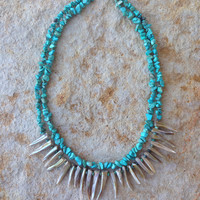 Turquoise and Shell Spiked Necklace