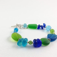 Blue and green sea glass bracelet tumbled frosted recycled glass beads beaded jewelry in cobalt aqua light sky blue and Kelly emerald green