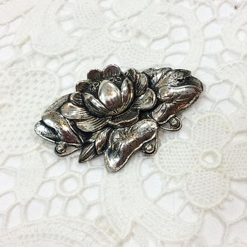 Danecraft Water Lily Brooch, Sterling Silver Jewelry, Art Nouveau Style, Large Floral Brooch, 1940s 1950s, Vintage Jewelry
