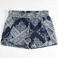 Full Tilt Bandana Print Girls Dolphin Shorts Blue/White  In Sizes